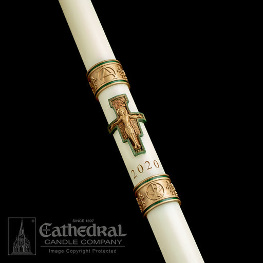 CROSS OF ST FRANCIS PASCHAL CANDLE / COMPLEMENTING ALTAR CANDLES