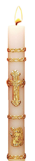 GOLD LEAF ORNAMENTED COMMUNION CANDLE 7/8 INCH  X 8 1/2 INCH