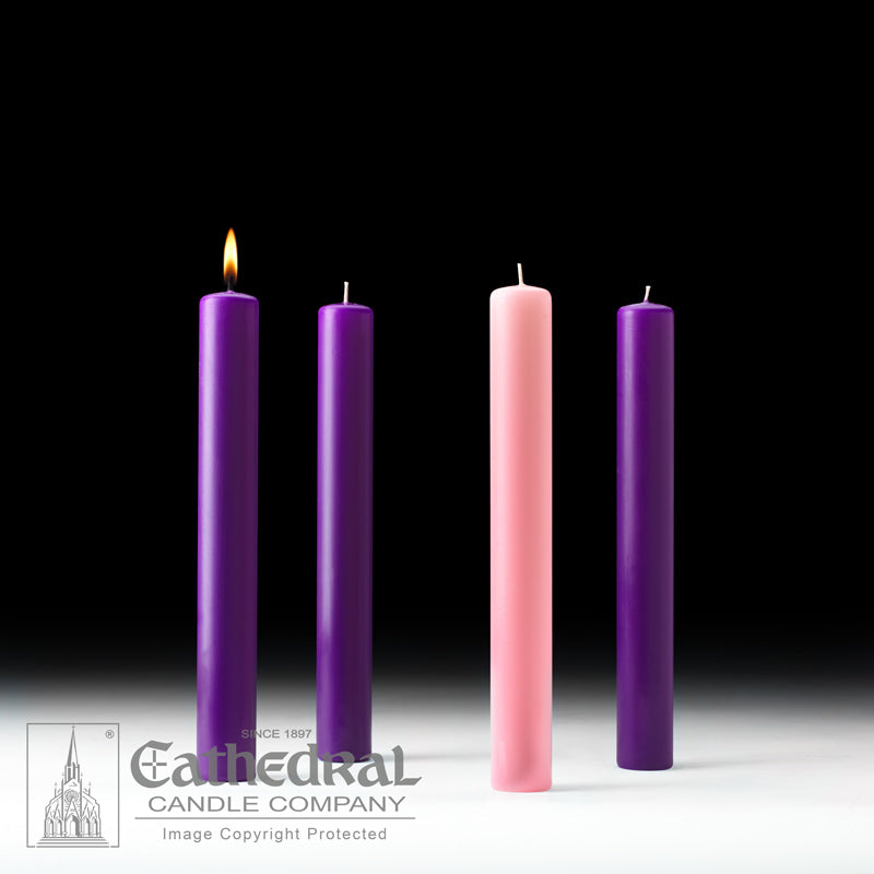 ADVENT CANDLES - 1-1/2 INCH  X 12 INCH  - 51% BEESWAX