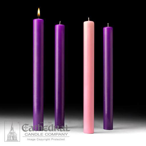 ADVENT CANDLES - 1-1/2 INCH  X 16 INCH  - 51% BEESWAX