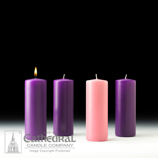ADVENT PILLAR CANDLES - 3 INCH  x 8 INCH  - STEARINE