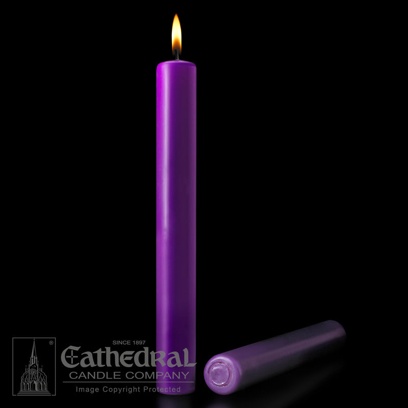 PURPLE ALTAR CANDLE - 1-1/2 INCH  X 16 INCH  - 51% BEESWAX