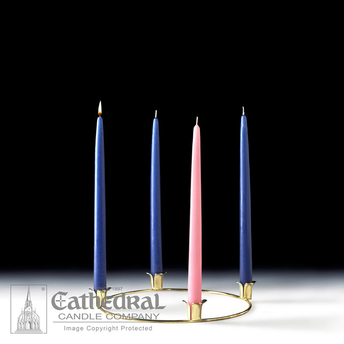 ADVENT WREATH GOLD - 10 INCH  DIAMETER W/ TAPERED ADVENT CANDLE SET
