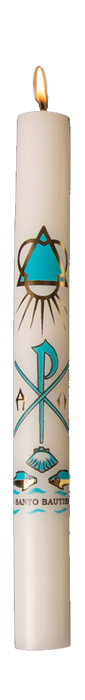 7/8 INCH  X 8-1/2 INCH  - BAPTISMAL CANDLE - SPANISH