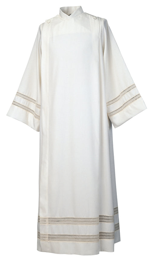 FRONT WRAP ALB - Style 430 /I - Natural Flax and Polyester Blend - Covered button closure with Lace Insert