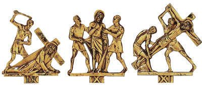 Stations of the Cross - 24k Gold Plated - On Oak or Walnut Plaques