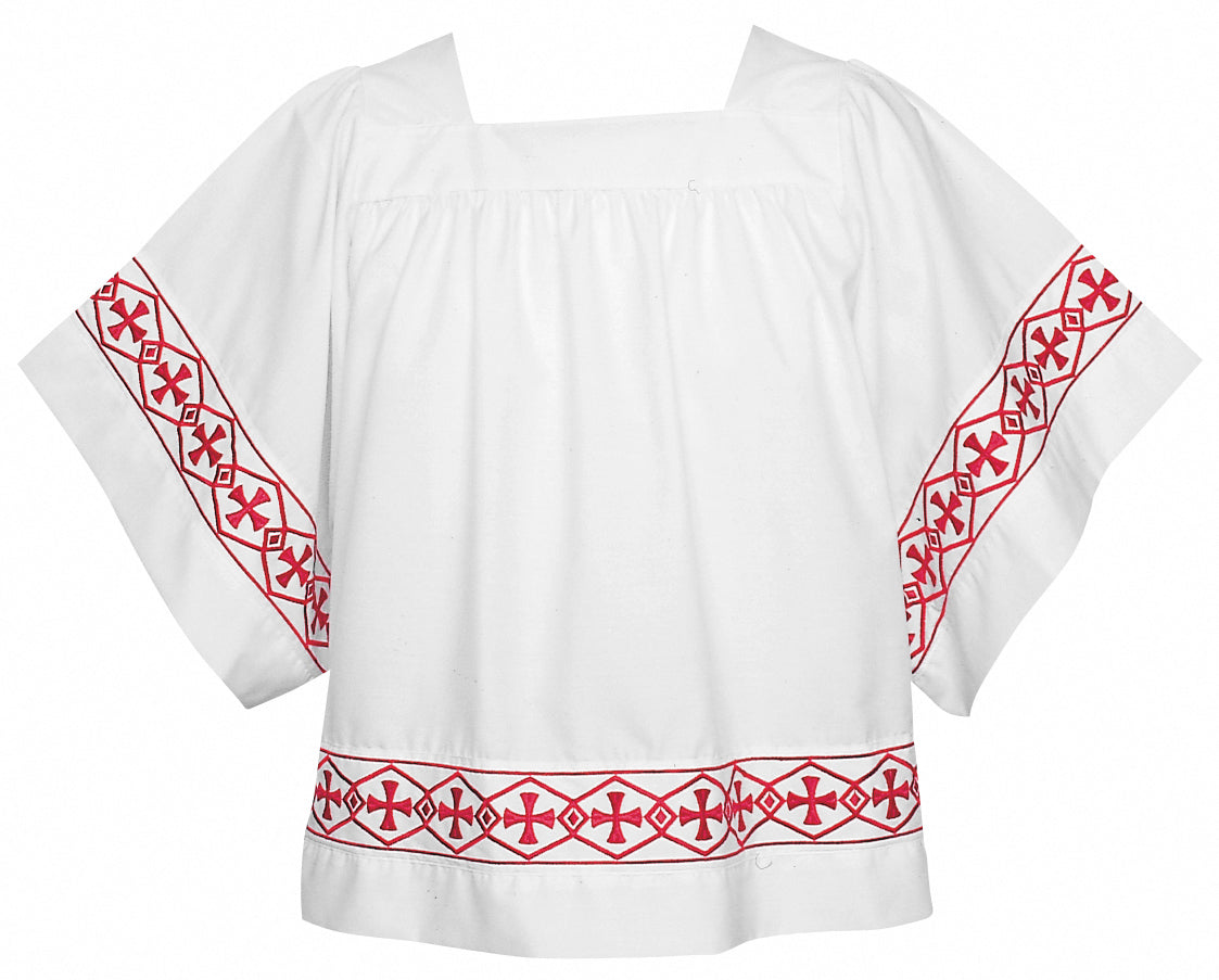 SURPLICE - Style 113B  - Banded Surplice. Cross design orphrey in Red