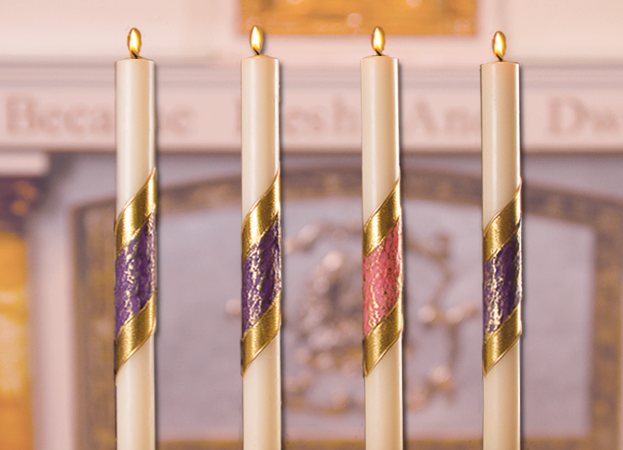 "ADVENT CANDLE SETS - 1-1/2"" X 17"" - 51% BEESWAX - COLORED BAND"