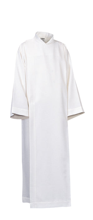 ALTAR SERVER ALB - 225 Medium weight 100% Polyester with velcro closure and adjustable velcro waist straps.