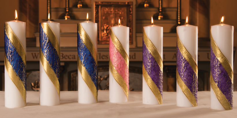 "ADVENT PILLAR CANDLES - 3"" X 11"" - COLORED BAND"