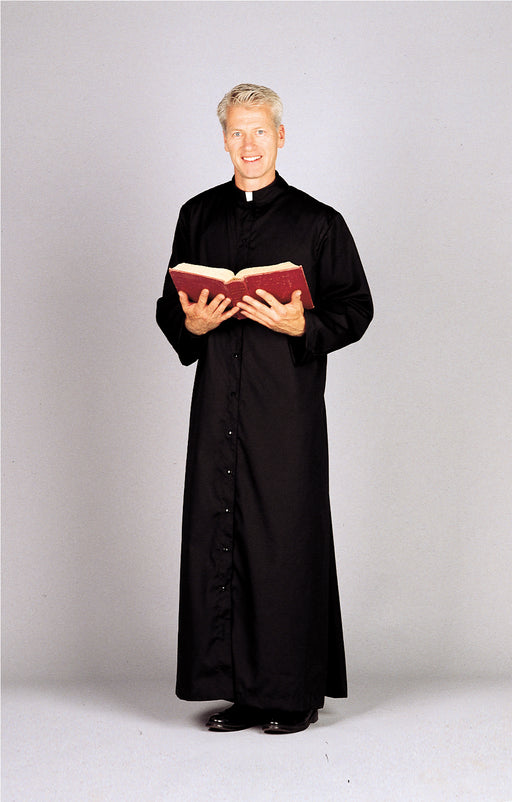 ADULT CASSOCK - Style 216S  65% polyester/35% cotton. Full Cut, Snap Front in Black