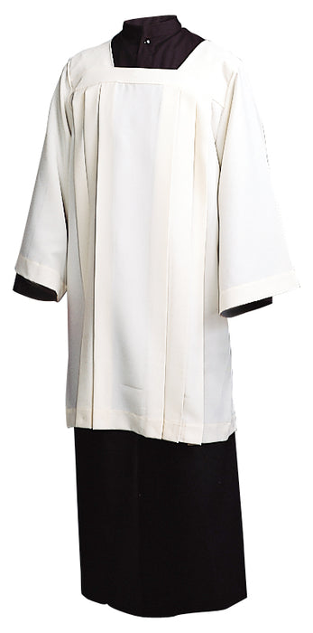 ECUMENICAL SURPLICE - Style 367 - Knee Length, Square Yoke with long sleeves. 100% Ivory Polyester