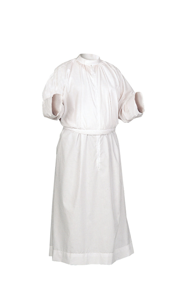 "CLERGY FITTED ALB - Style 425 - Clergy Fitted Alb style 425 : Our most popular style! 65% Polyester/35% cotton. Standup collar with 30"" zipper and adjustable velcro belt."