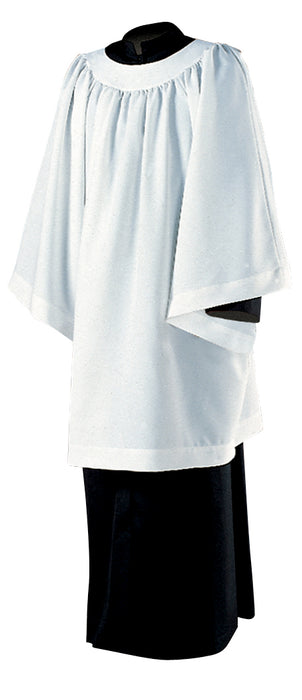 Liturgical Surplice - Style 335 - Knee Length, Round Yoke, Permanent Press Surplice. 65% Polyester / 35% Combed Cotton