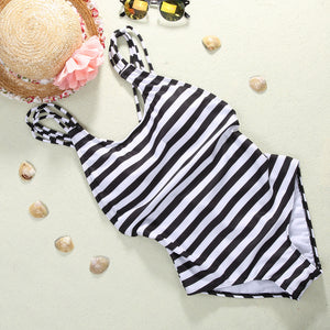 Brazilian Striped One-Piece Swimsuit