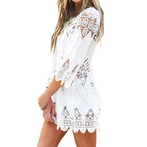 White 3/4 Sleeve Swimsuit Cover-up