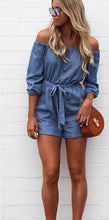 Off Shoulder Blue Romper