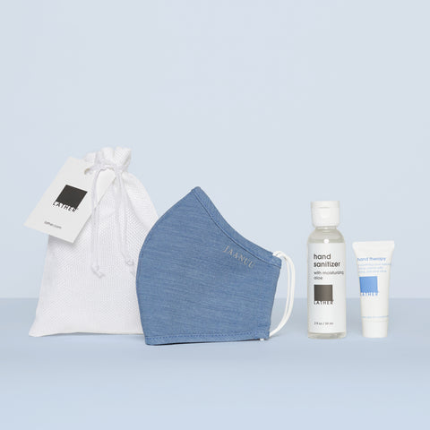 LATHER Conscious Care Kit - Hand Sanitizer with Moisturizing Aloe, Hand Cream and Jaanuu Face Mask