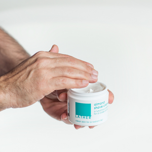 Almond Shave Crème hands showing texture