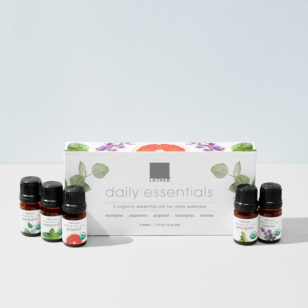 Daily essential oil set with 5 assorted essential oils lifestyle image