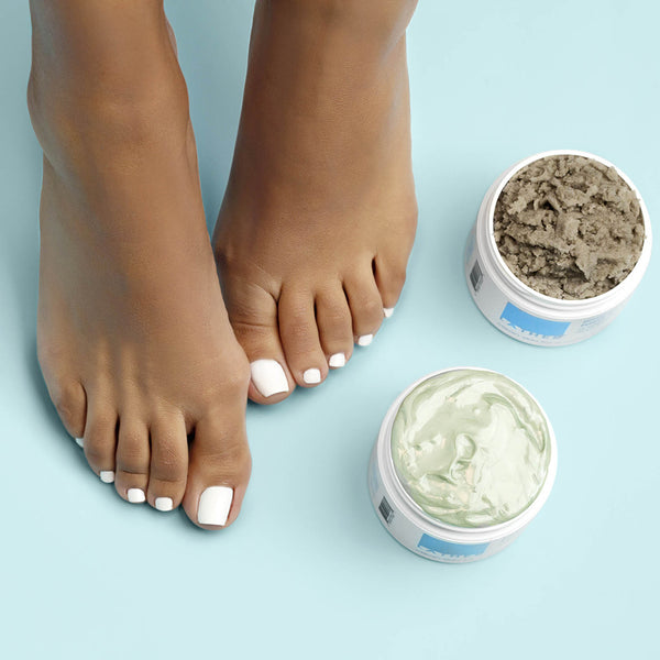 Eucalyptus Foaming Foot Scrub With Pumice and Lavender & Eucalyptus Foot Crème Duo with feet