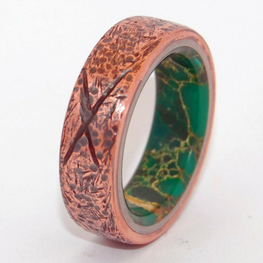 Hammered Copper With X + Egyptian Jade