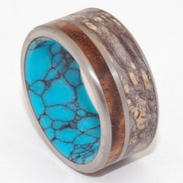 Hawaiian Koa Wood + Black Box Elder Wood + Turquoise