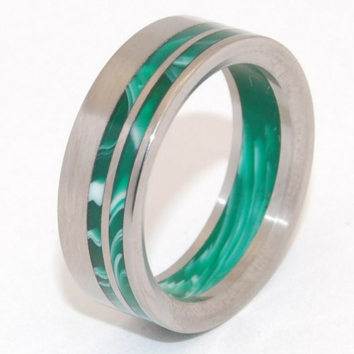 Green Vintage Opalescent Double Offset