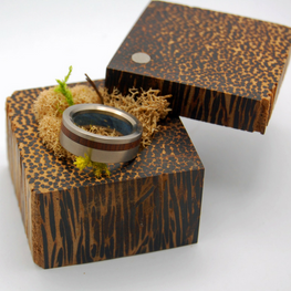 Black Palm Wood Ring Box