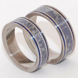 Mokume Gane [Blue/Silver] With Blue Pinstripes Pair