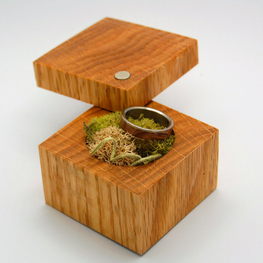 Red Oak Wood Ring Box