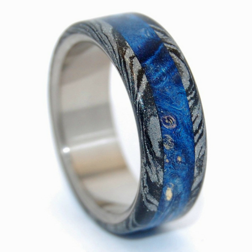 Mokume Gane [Black/Silver] + Blue Box Elder Wood #3