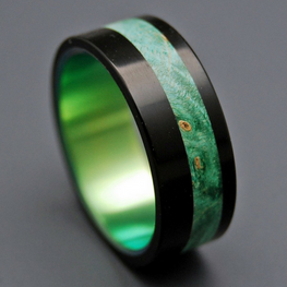 Black Opalescent + Green Box Elder Wood