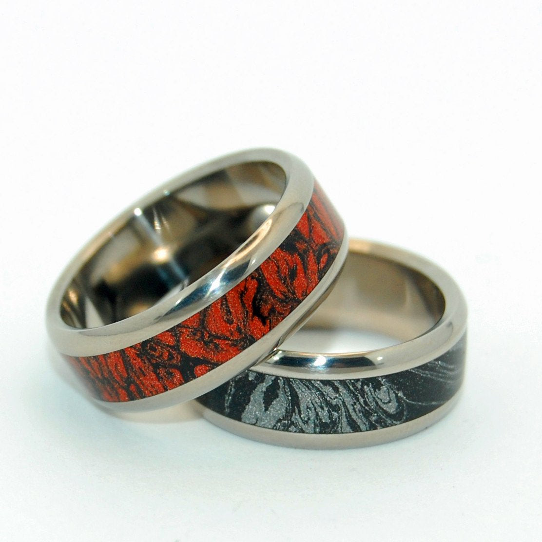 Mokume Gane [Black/Silver & Black/Red] Pair