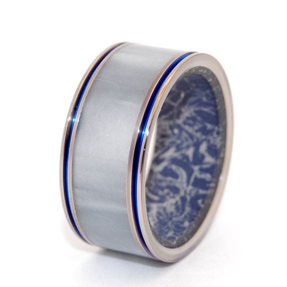 Marbled Opalescent + Mokume Gane [Blue/Silver] With Blue Pinstripes