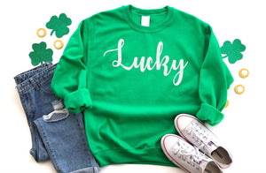 Lucky Unisex Sweatshirt - Hot Mess Mom Designs