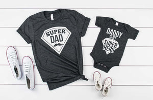 Super Dad/ My Dad Is My Super Hero Shirt Set - Hot Mess Mom Designs
