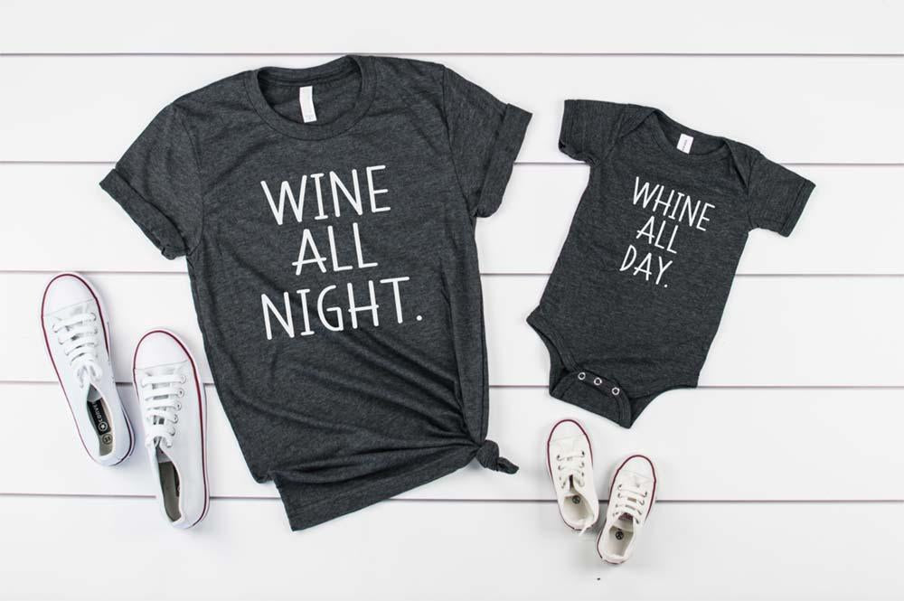 Whine All Day, Wine All Night Shirt Set - Hot Mess Mom Designs