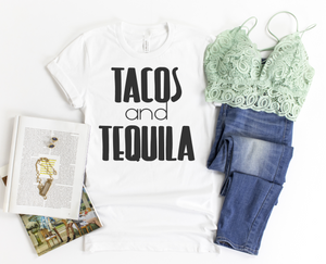 Tacos and Tequila Unisex Shirt - funny shirts for women at Hot Mess Mom Designs