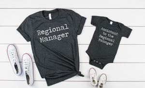 Regional Manager/ Assistant to the Regional Manager Shirt Sets - Hot Mess Mom Designs