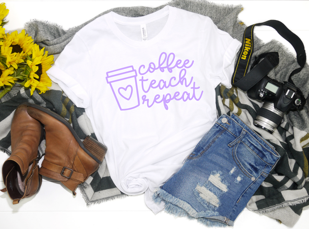 Coffee Teach Repeat - Hot Mess Mom Designs