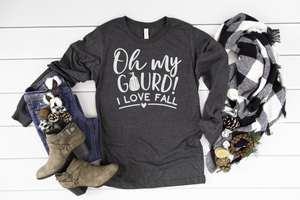 Oh My Gourd I Love Fall Long Sleeve - Hot Mess Mom Designs