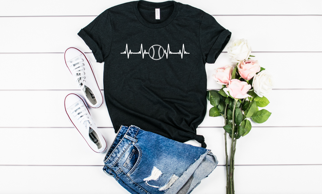 Baseball Heartbeat - Hot Mess Mom Designs