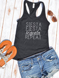 Siesta Fiesta Tequila Repeat Tank Top - Hot Mess Mom Designs