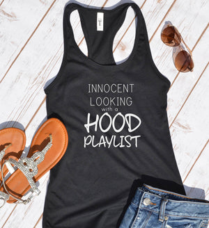 innocent looking hood playlist tank top - Hot Mess Mom Designs