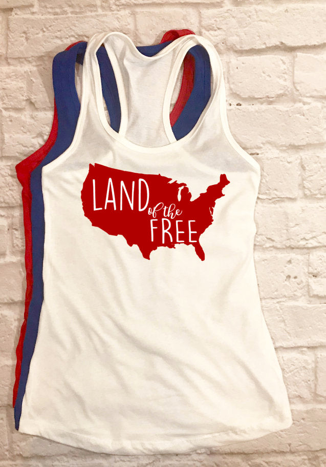 Land of the Free tank - Hot Mess Mom Designs