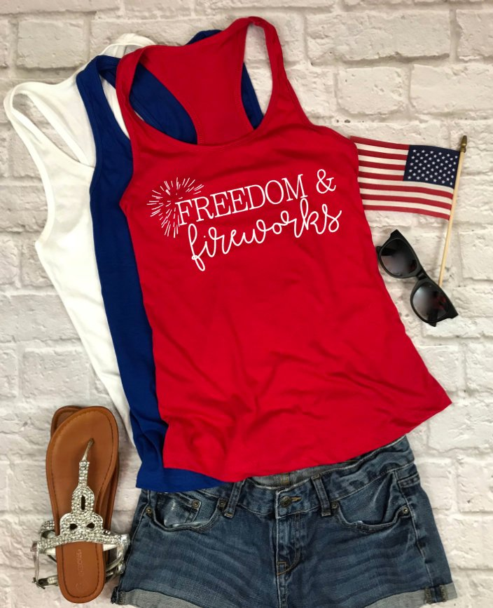 Freedom and Fireworks Tank - Hot Mess Mom Designs