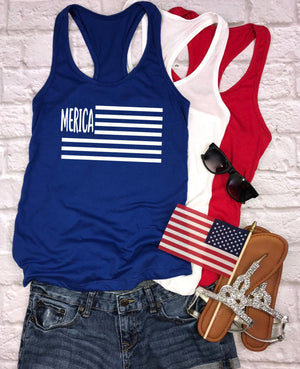 Merica Flag Tank Top - Hot Mess Mom Designs
