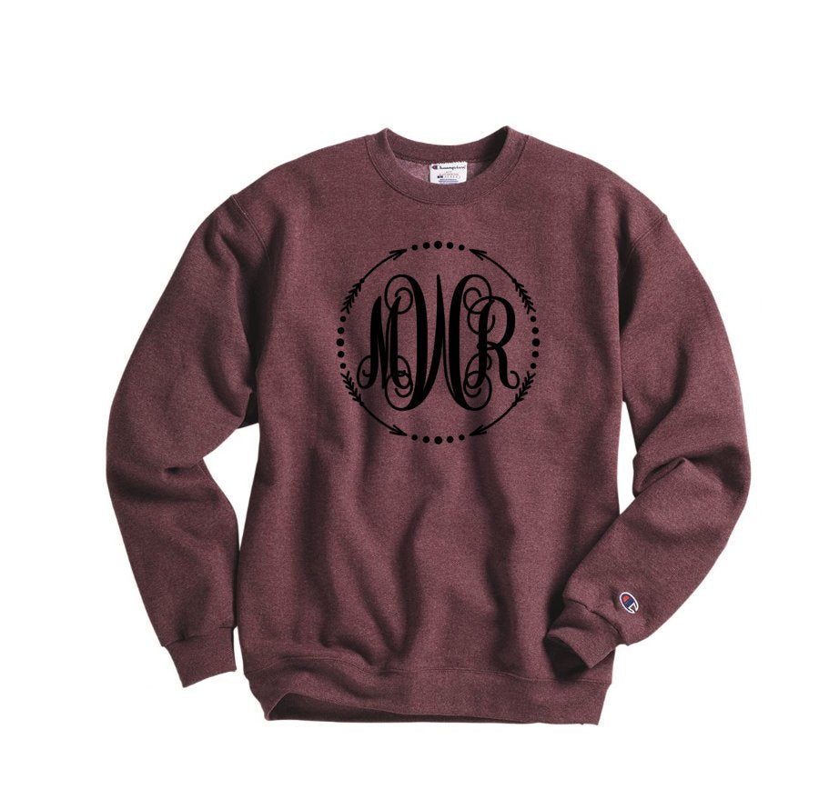 large monogram sweatshirt - Hot Mess Mom Designs