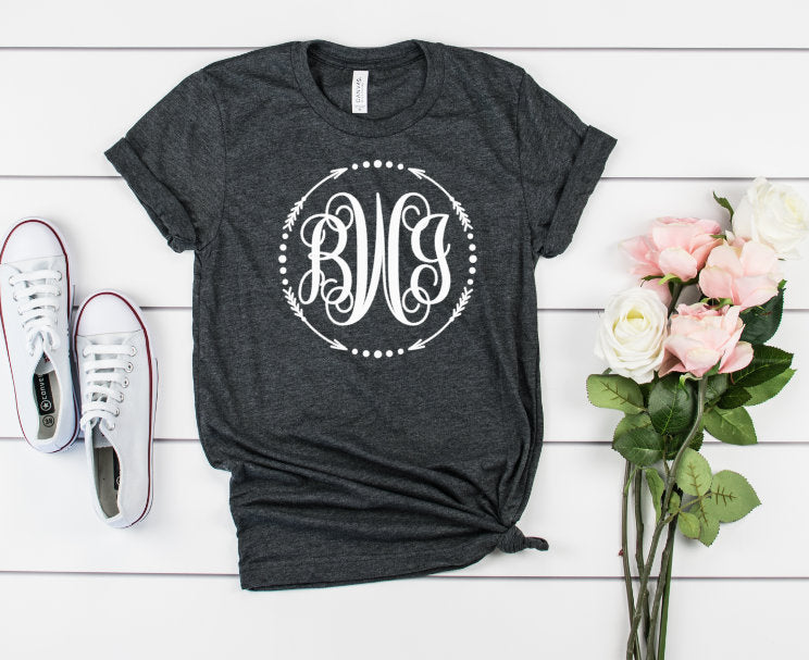 Large Monogram Unisex Shirt - Hot Mess Mom Designs